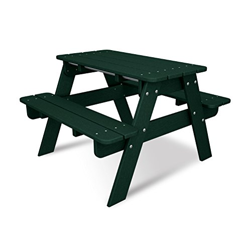 POLYWOOD KT130GR Kids Picnic Table, Green (Polywood With Picnic Benches Table)