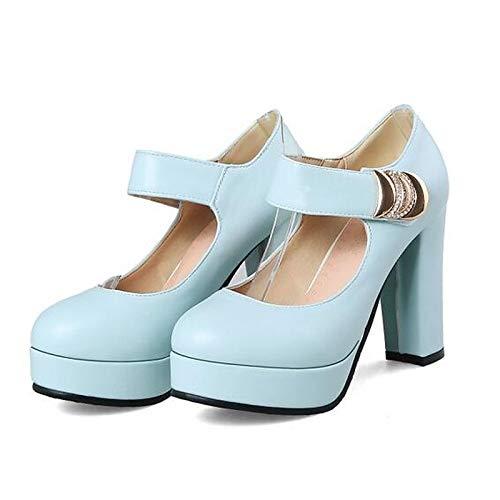 Blue Tacones Rosa Grueso Negro Bomba Poliuretano de Azul Primavera Tacón Zapatos ZHZNVX básica Mujer PU 8RBgnT6Ox