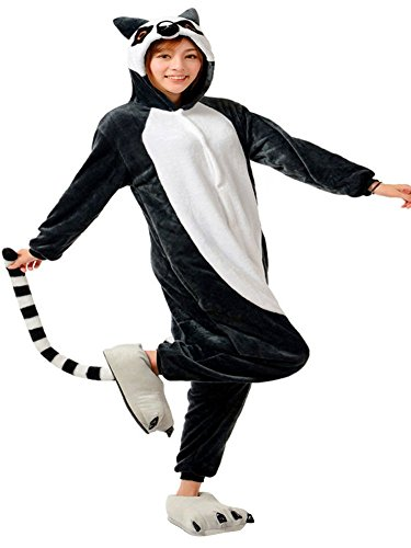 ABING Halloween Pajamas Homewear OnePiece Onesie Cosplay Costumes Kigurumi Animal Outfit Loungewear,Long Tail Monkey Adult S -for Height (Monkey Outfits For Adults)