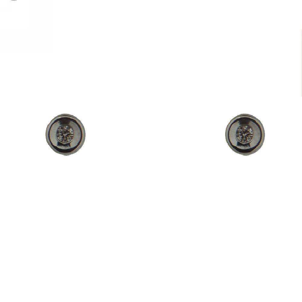 18K White Gold Diamond Bezel Earring wiht covrered screwbacks 3mm