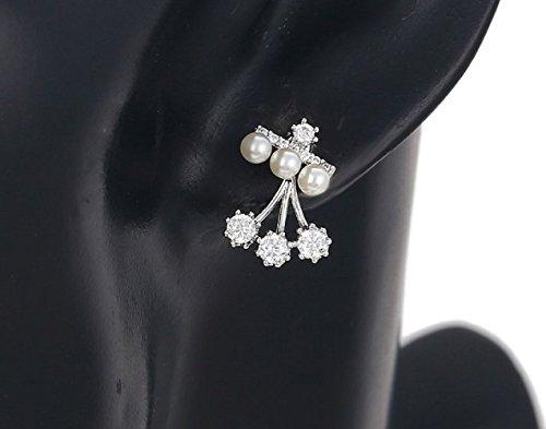 LORELYS Cadeau d'amour Femme Ravissantes Boucles D'oreilles Puces Perles Serti De Cristaux Transparent De Haute Qualité Plaque Or Blanc