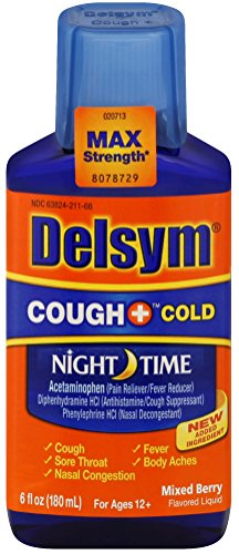 Delsym Adult Cough + Cold Night Time Liquid, Mixed Berry, 6oz