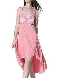 Ms Demon Nightgown Sleeveless Ice Cotton Wide Hemline Soft Sleepdress Nightgown House Wear (One Size Fits 2-16/XS-XL, Pink)