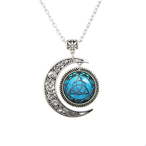 Blue Moon Celtic Triquetra Necklace Pendant Silver Plated Charm Moon jewelry Triquetra Pagan necklace (Celtic Moon Necklace)