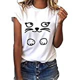 Misaky Fashion Women's Short Sleeve Blouse Loose Cat Print T-Shirt Casual O-Neck Top(B_White, S)