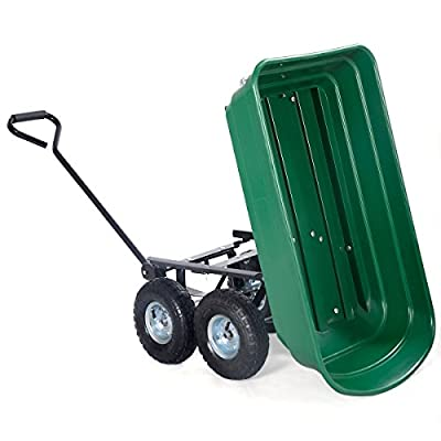Garden Dump Cart 650LB Dumper Wagon Carrier Wheel Barrow Air Tires Heavy Duty New Green