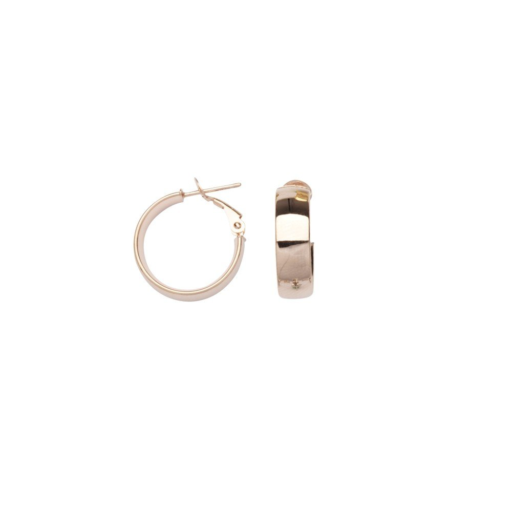 14k Rose Gold 6x15 Plain Hoop Earrings Omega Clip
