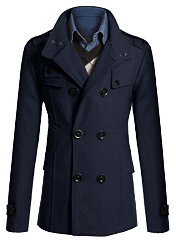 Oberora Mens Winter Stand Collar Double Breasted Wool Trench Pea Coat Jacket Navy Blue S