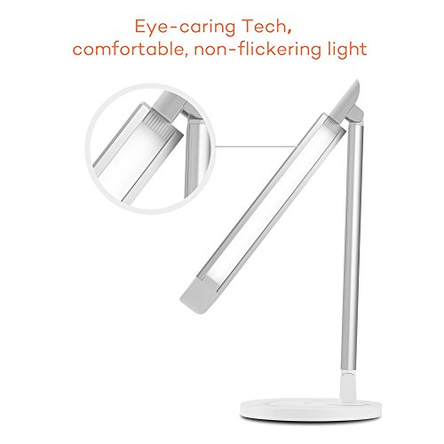 TaoTronics LED Desk Lamp Eye-caring Table Lamp, Dimmable LED Lamp, Desk Lamp with USB Charging Port, Office Lamp, Touch Control, 5 Color Modes, White, 12W