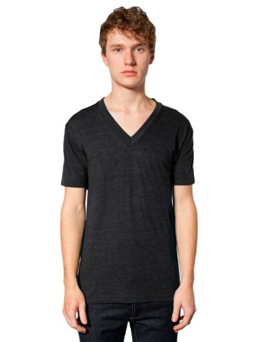 American Apparel Unisex Tri-Blend Short Sleeve V-Neck, Tri/Black, - Black Tri