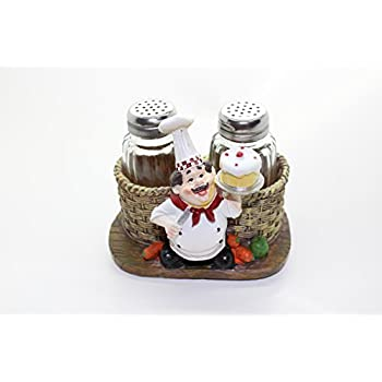 Fat French Chef Pierre Glass Salt And Pepper Shaker Set With Decorative  Display Stand Table Centerpiece
