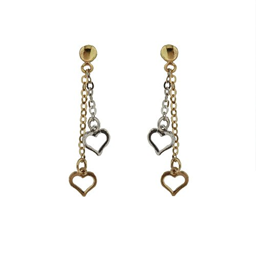 18K Two Tone Open Heart Dangle Post Earrings H 1.16 Inches by Amalia