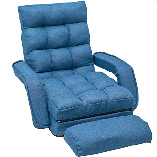 Mobile Lounge Chaise Adjustable - Merax Chaise Lounges Folding Lazy Floor Chair Sofa Lounger Bed with Armrests and a Pillow (Blue)