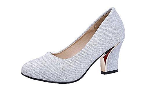 Kätzchen Odomolor Silber Absatz Round Schuhe Pumps Solide Toe Pailletten Damen rq7tSgr