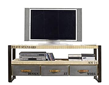 revendeur 11740 4afdc Meuble TV 150x40cm - Bois massif de manguier brut - Fer et ...