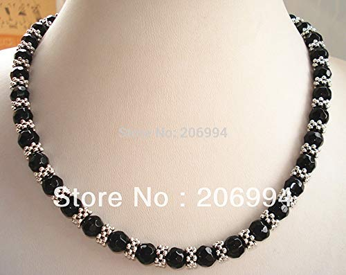 (Designer Necklace 18'' Genuine Black Stone Tibet Silver Bead Necklace 2pc/lot Gift Fashion Jewelry)