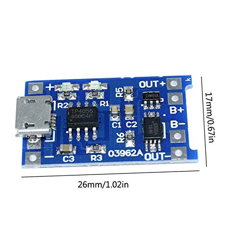 Und Schutz Integriertes Bord Aufladen Mit Schutz Zwei In Einer Modul Micro Blau 18650 1A Lithium-Batterie-Lade