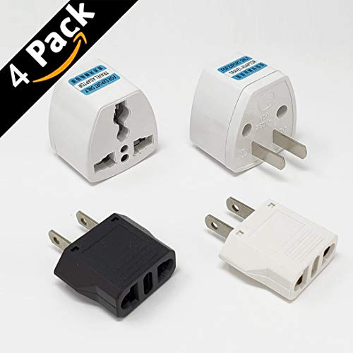 Universal Power Plug Travel Converting Adapter Converting from EU/UK/CN/AU to USA (4 Pack)