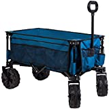 Timber Ridge Folding Camping Collapsible Sturdy Steel Frame Garden/Beach Wagon/Cart Heavy Duty, Blue-Side Bag