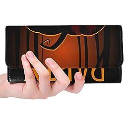 Unique Custom Halloween Party Design Template Pumpkin Place Women Trifold Wallet Long Purse Credit Card Holder Case Handbag