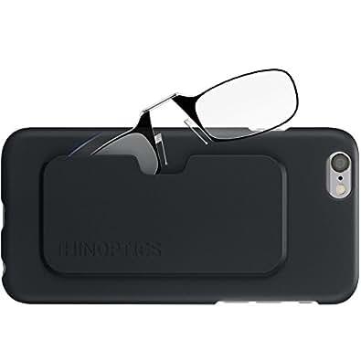 ThinOptics Reading Glasses + iPhone 6 or iPhone 6S Case   Black Frames, 1.00 Strength