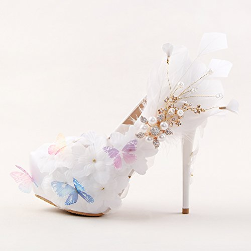 VIVIOO Super Beautiful Shoes Prom Feather 7 Woman High Shoes Sandals Butterfly Flower Shoes Heel Heeled 14Cm Rhinestone White Shoes Dress Party Wedding 77rqS