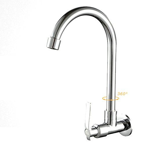 Swivel Spout Single Lever Pull Out Mixer Sprayer Chrome Kitchen Taps Deck/Wall mounted Cold Water Sink Mixer Tap Kitchen Taps Faucet for Home & Commercial (4#)