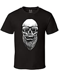 Men's Skull with Beard and Sunglasses Hipster Graphic T-Shirt
