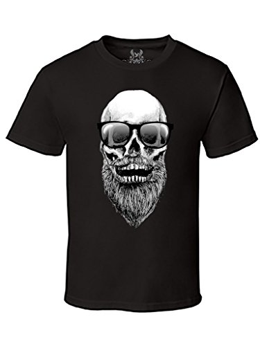 Gs-eagle Men's Skull with Beard and Sunglasses Hipster Graphic T-Shirt Large Black (Beard Gs)