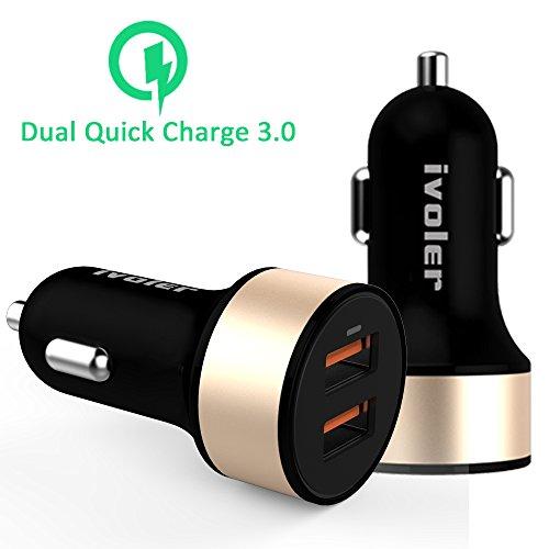 [Qualcomm Zertifiziert] iVoler Quick Charge 3.0 36W 2-Port USB Kfz Auto Ladegerät [2*QC 3.0 Port] [QC 2.0 & USB Type C Kompatibel] für Samsung Galaxy S7/S7 Edge/S6/S6 Edge/Plus/Note 7/5/4/Edge,Sony Xperia Z5/Z4/Z3/Z2, LG G5/G4/V10/ G Flex 2, Asus Zenfone 2, HTC 10/A9/M8/M9,Nexus 6,Nexus 6P/5X,Microsoft Lumia 950/950XL, Oneplus Two und weitere (Schwarz)