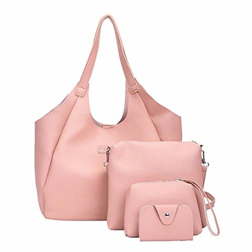 Donne Elegante Rosa 4 Tracolla Pezzi Set Borsa A Crossbody Donna Kword Bag Borse Borsa Portafoglio 4 Di Donna Tote Borse f01fwRY