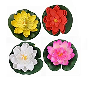 Water Floating Foam Lotus Flower with Water Lily Pad Ornaments Perfect for Patio Koi Pond Pool Aquarium Home Garden 99