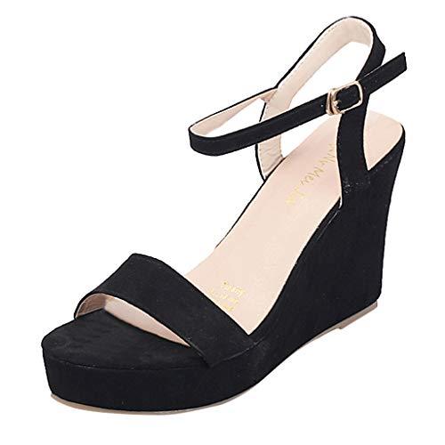 WONdere Fashion Ladies Summer Versatile Flat Open Toe Wedge With Metal Buckle Sandals