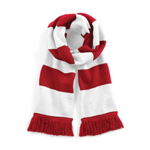 Beechfield Varsity Unisex Winter Scarf (Double Layer Knit) (One Size) (Classic Red / White) (Classic Striped Scarf)