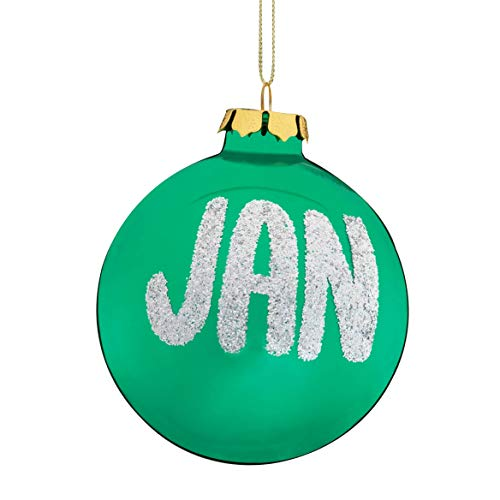 HOLIDAY PEAK Miles Kimball Personalized Name and Date Glitter Green Ornament