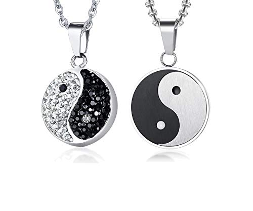 (VNOX Couple Jewelry Chinese Philosophy Taoist Symbol Yin-Yang Taichi Yoga Couple Necklace for Him Her)