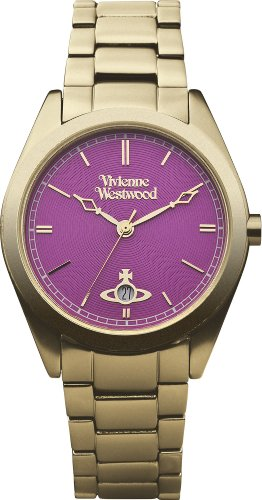 Vivienne Westwood St James Unisex Quartz Watch with Pink Dial Analogue Display and Gold Bracelet VV049PKGD