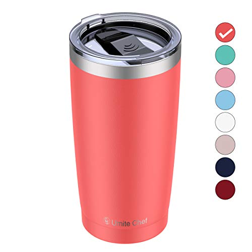 Umite Chef 20oz Stainless Steel Tumbler with Lid, Double Wall Vacuum Insulated Travel Mug Tumbler with Straw, Durable Insulated Coffee Mug for Hiking, Camping & Traveling (Coral Orange)