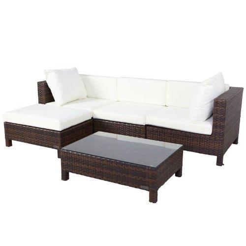 OUTFLEXX Sitzgruppe aus Polyrattan inkl. Hocker und Polster, für 4 Personen in braun marmoriert