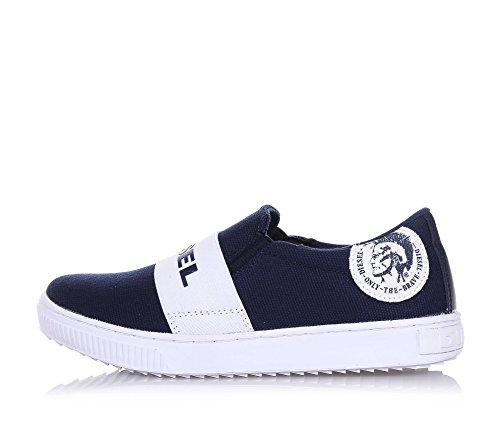 DIESEL - Blauer Slipper aus Stoff, seitlich elastische Einsätze und mitten ein weißes Band mit Logo, Jungen