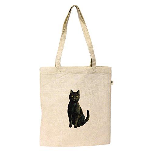 Flat Market Tote Hemp/Cotton Black Cat Halloween Vintage Look By Style In ()
