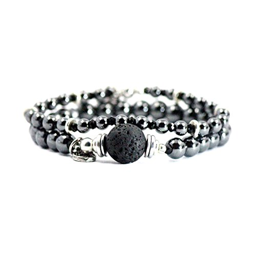 Tom+Alice Magnetic Hematite Beaded Stretch Bracelets Personality Set of 2 Silvering with Oil Lava Stone for Women Silver