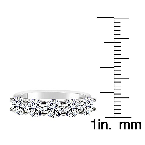 Solstice Sterling Silver 925 Round 5 Stone Band Ring Made with Swarovski Zirconia (2 cttw, Size 8) by ZKS Designs (Image #2)