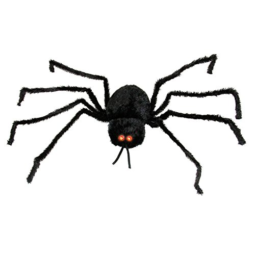Halloween Haunters Animated 5 Foot Scary Black Spider with Moving Shaking Head Prop Decoration - Creepy Screams, Howls, LED Eyes - Haunted House Web, Graveyard Entryway Party Display Battery Operated
