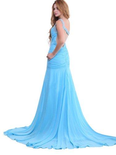 Einschulter mit aus Chiffon 2014 Schleppe Abendkleider Sexy schöne twgqXR0
