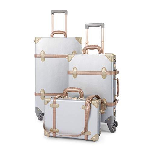 COTRUNKAGE 3 Piece Vintage Luggage Set TSA Lock Retro Trunk (14
