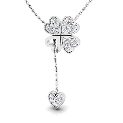 1/4 ctw Clover Sterling Silver Lab Grown Diamond or Lab Created Diamond Lariat Pendant Necklace for Women. Jewelry Gifts.