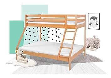 Xxl Discount Etagenbett 140x200 Und 90x200 Fur 3 Kinder Spielbett Doppelstockbett Maxim Aus Buche Massiv Inkl Rollrost