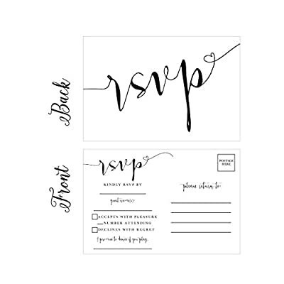 50 Blank RSVP Cards, RSVP Postcards No Envelopes Needed, Response Card, RSVP Reply, RSVP for Wedding, Rehearsal Dinner, Baby Shower, Bridal Shower, Birthday, Engagement, Bachelorette Party Invitations