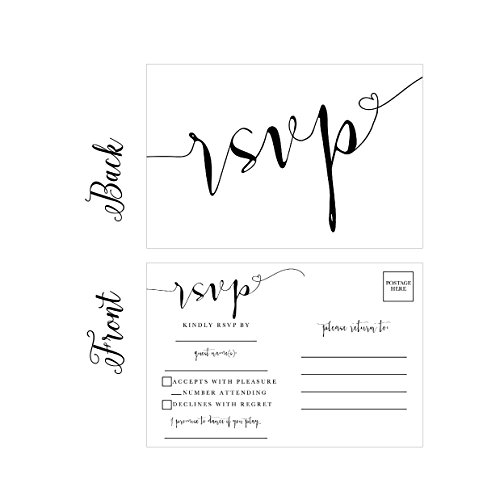 50 Blank RSVP Cards, RSVP Postcards No Envelopes Needed, Response Card, RSVP Reply, RSVP for Wedding, Rehearsal Dinner, Baby Shower, Bridal Shower, Birthday, Engagement, Bachelorette Party (Response Cards For Wedding)